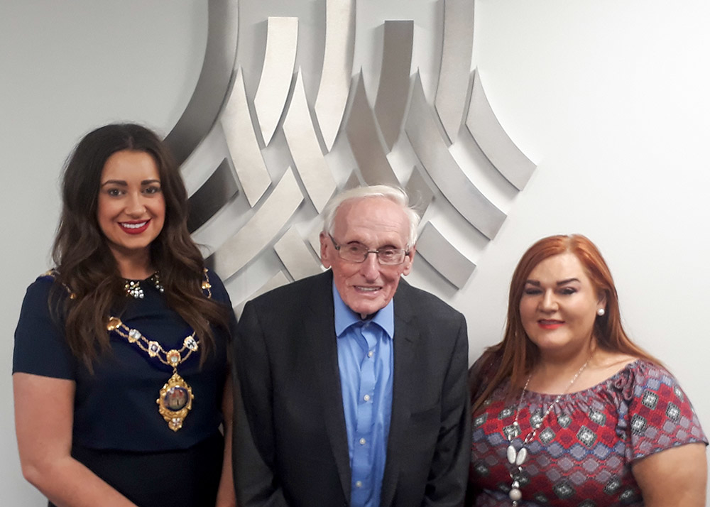 Mayor of Mid and East Antrim Cllr Lindsay Millar, Sir William Wright CBE, and Council Chief Executive Anne Donaghy