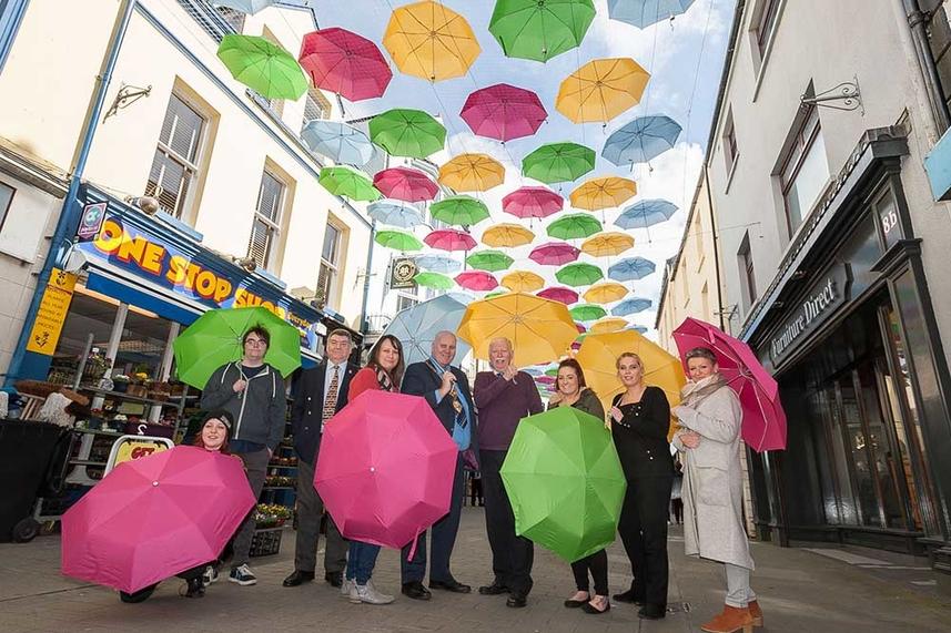 'Umbrella Street' raining colour on the streets of Carrickfergus image