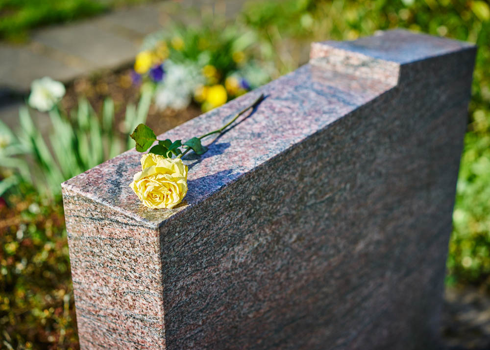 Stock image of a grave with a rose