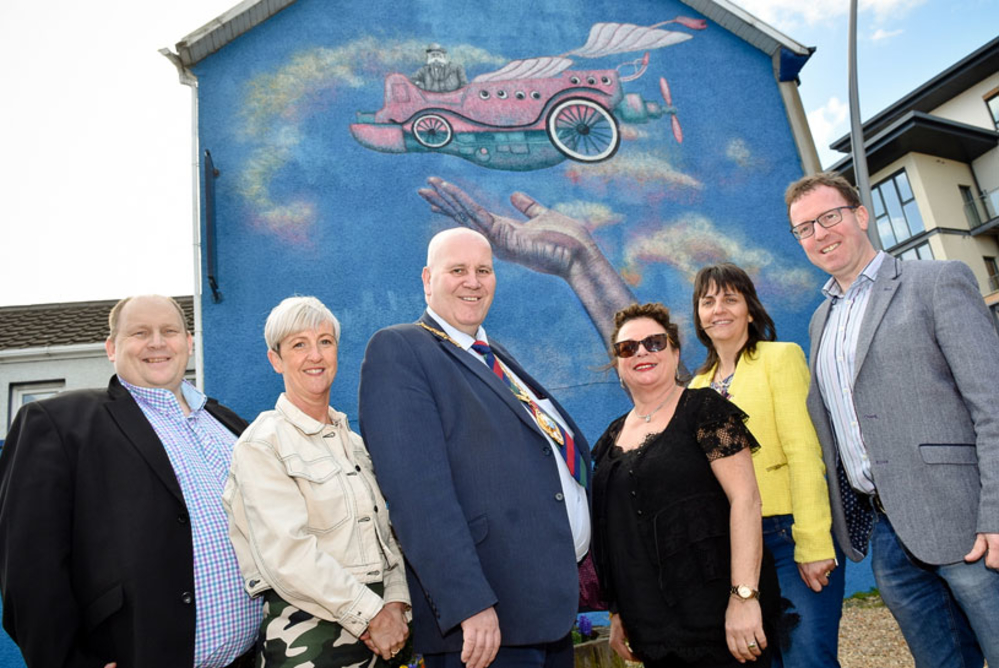 23 April 2018 Street art painting a new future for Larne's Main Street.