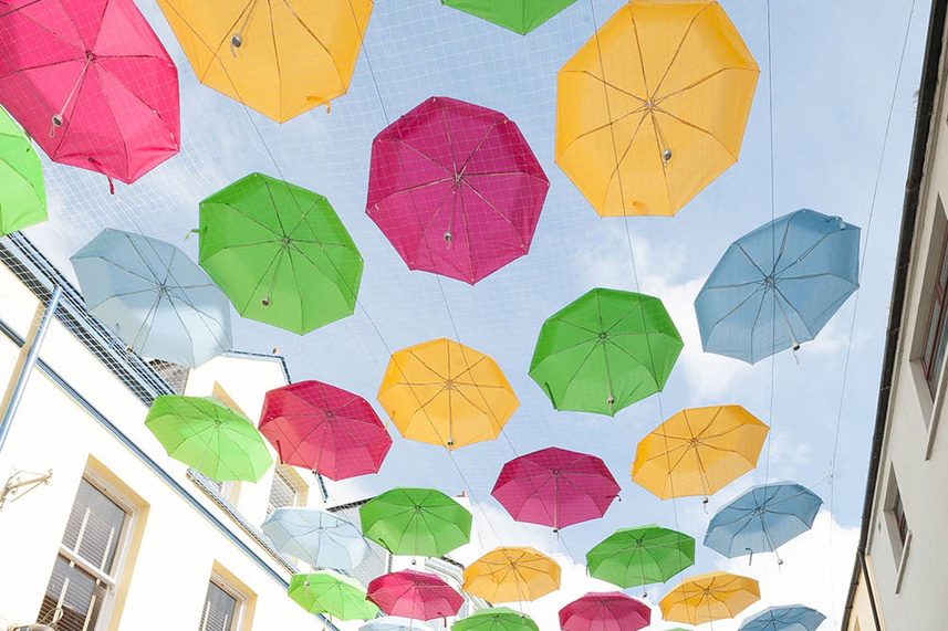 No April showers for Larne as town centre brollies bring Spring Festival to life image